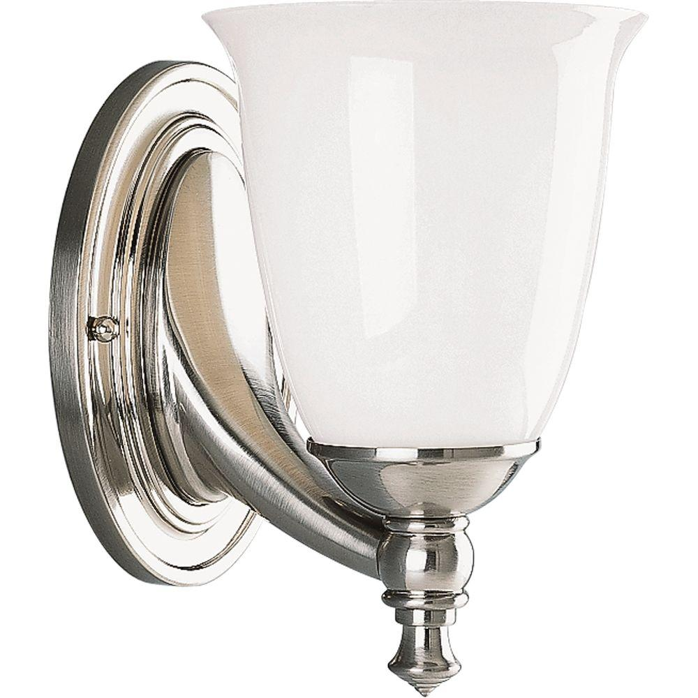 Progress Lighting Victorian Collection 1 Light Brushed Nickel Bath Sconce With White Opal Glass Shade