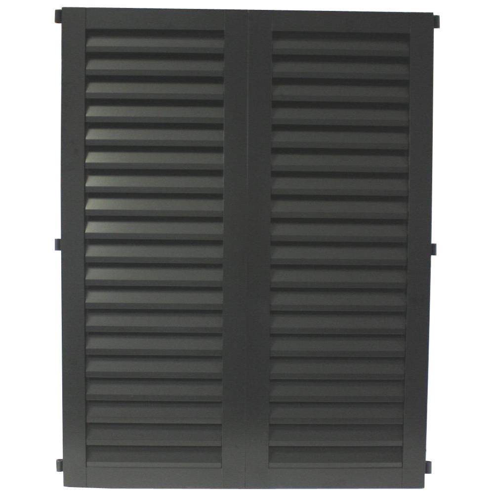 POMA 52 in. x 51.75 in. Black  Colonial Louvered Hurricane Shutters Pair
