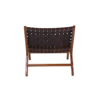 Swell Litton Lane Brown Leather And Wood Loose Weave Lounge Chair Inzonedesignstudio Interior Chair Design Inzonedesignstudiocom