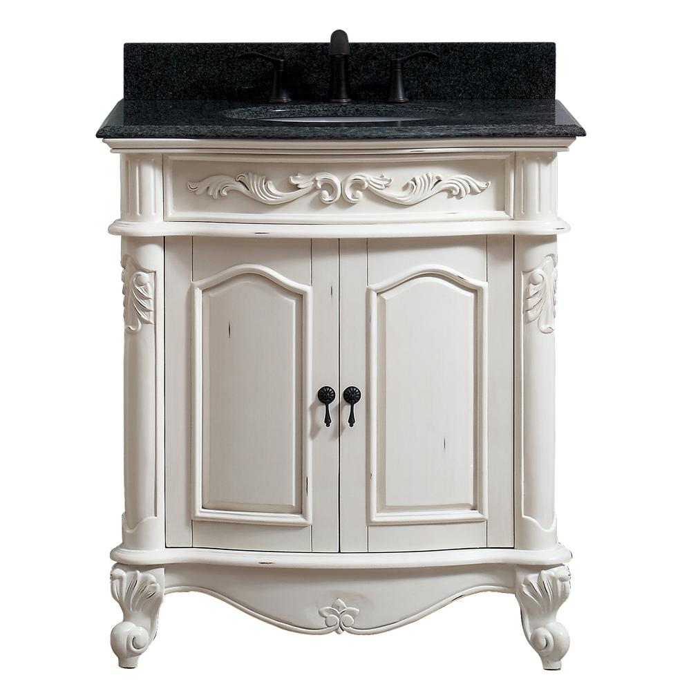 Avanity Provence 31 in. W x 22 in. D x 35 in. H Bath Vanity in Antique White with Granite Vanity Top in Impala Black with Basin