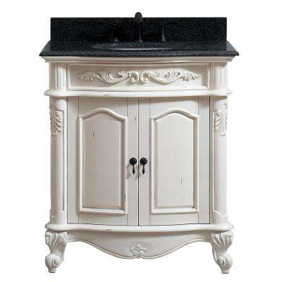 Provence 31 in. W x 22 in. D x 35 in. H Bath Vanity in Antique White with Granite Vanity Top in Impala Black with Basin