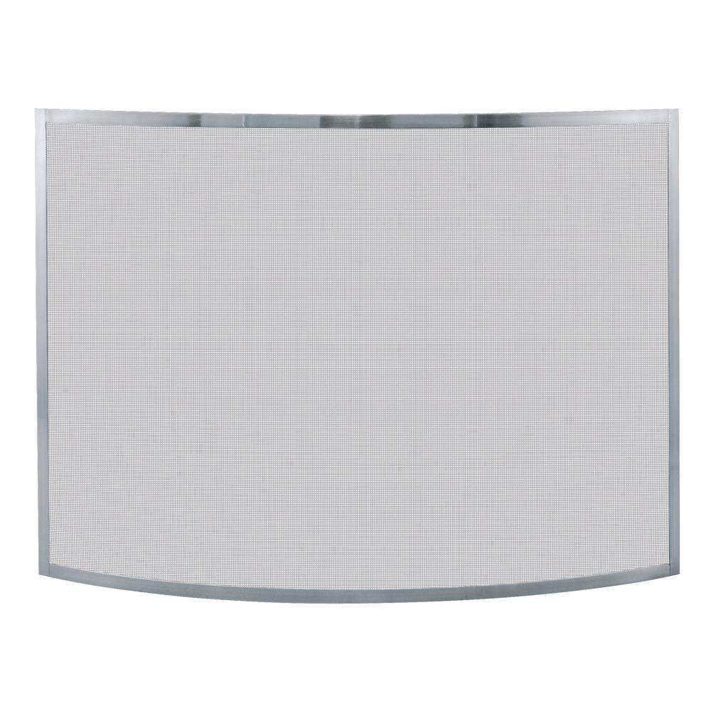 UniFlame - Curved Pewter Finish Single-Panel Fireplace Screen - Features a steel frame with heavy duty mesh. Dimensions are 41 in. wide and 31 in. high. The finish matches most popular home decors.