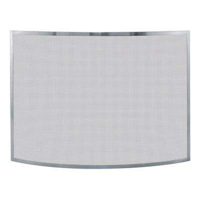 Curved Pewter Single-Panel Fireplace Screen