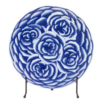 Blue and White Abstract Rose Ceramic Decorative Charger
