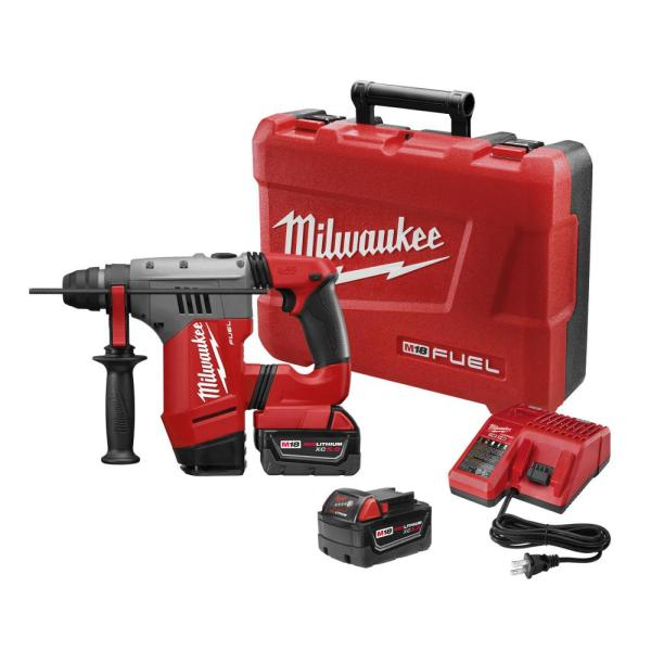 M18 FUEL 18-Volt Lithium-Ion Brushless Cordless 1-1/8 in. SDS-Plus Rotary Hammer W/(2) 5.0Ah Batteries, Charger, Case