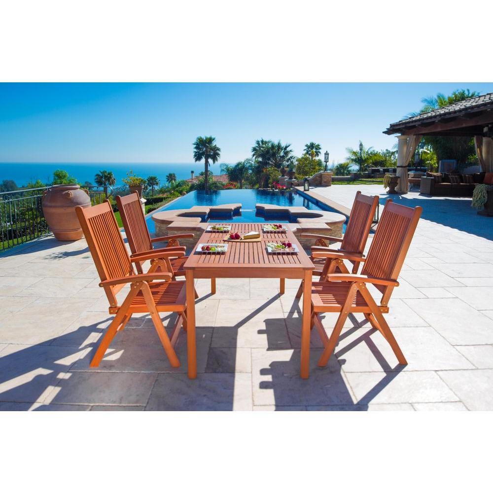 Vifah Balthazar Eucalyptus 5-Piece Patio Dining Set with Folding Armchairs