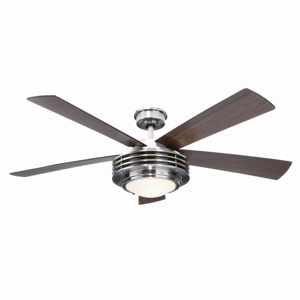 Hampton Bay Mondrian 52 in. Indoor Brushed Nickel Ceiling Fan with Light Kit and Remote Control