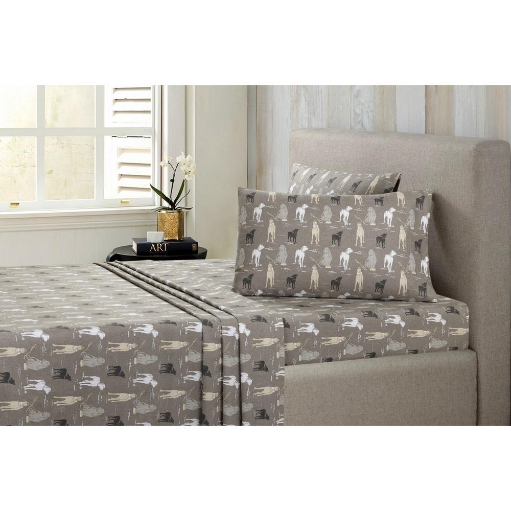 Modernist Dogs Cotton-Flannel Gray Queen Sheet Set SSRT03RCFSTDG
