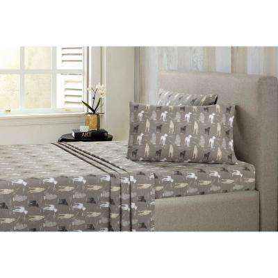 Dogs Cotton-Flannel Gray Queen Sheet Set