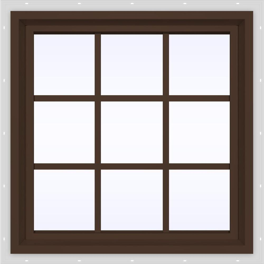 JELD-WEN 29.5 in. x 29.5 in. V-4500 Series Brown Painted Vinyl Fixed Picture Window with Colonial Grids/Grilles