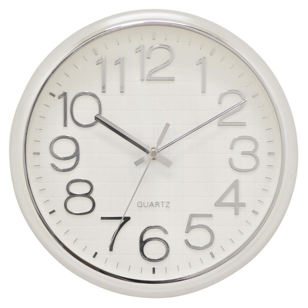 12.5 in. Shiny Silver Wall Clock