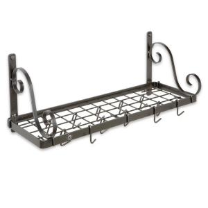 Handcrafted Bookshelf Wall Rack with 12 Hooks Hammered Steel