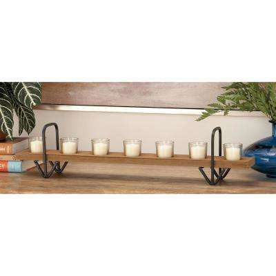 6 in. Oak Brown Wood and Clear Glass 7-Light Candle Holder with 2 Black Iron Arched Caddies
