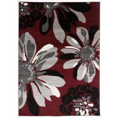 Modern Floral Flowers Red 7 ft. 10 in. x 10 ft. 2 in. Indoor Area Rug