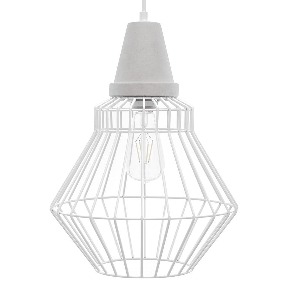 Dorthi 3-Light White Cage Pendant Lamp (3-Piece Set)