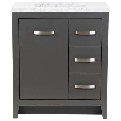 Blakely 31 in. W x 19 in. D Bath Vanity in Shale Gray with Stone Effects Vanity Top in Lunar with White Sink