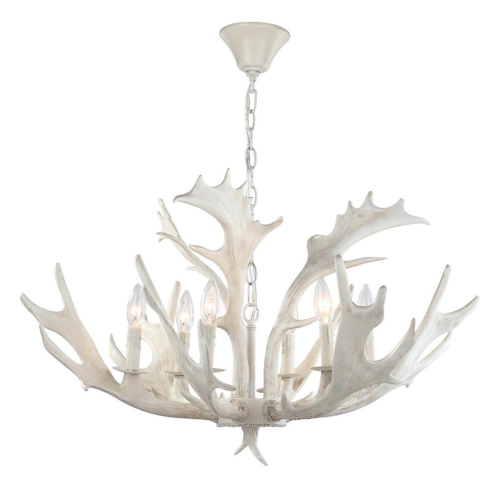 Safavieh Birch 6 Light White Antler, Modern White Antler Chandelier