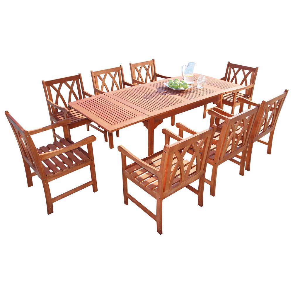 Vifah Malibu 9 Piece Wood Rectangle Outdoor Dining Set