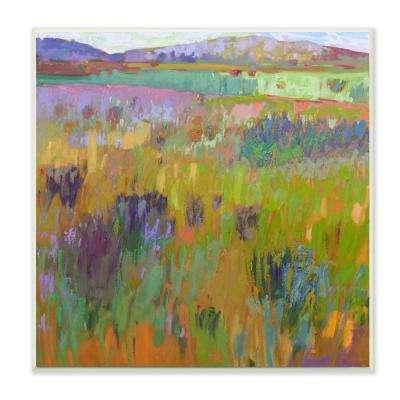 "12 in. x 12 in. ""Pastel Painterly Fields and Flowers Landscape"" by Artist Colin John Staples Wood Wall Art"