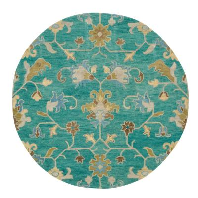 Montpellier Teal 8 ft. x 8 ft. Round Area Rug