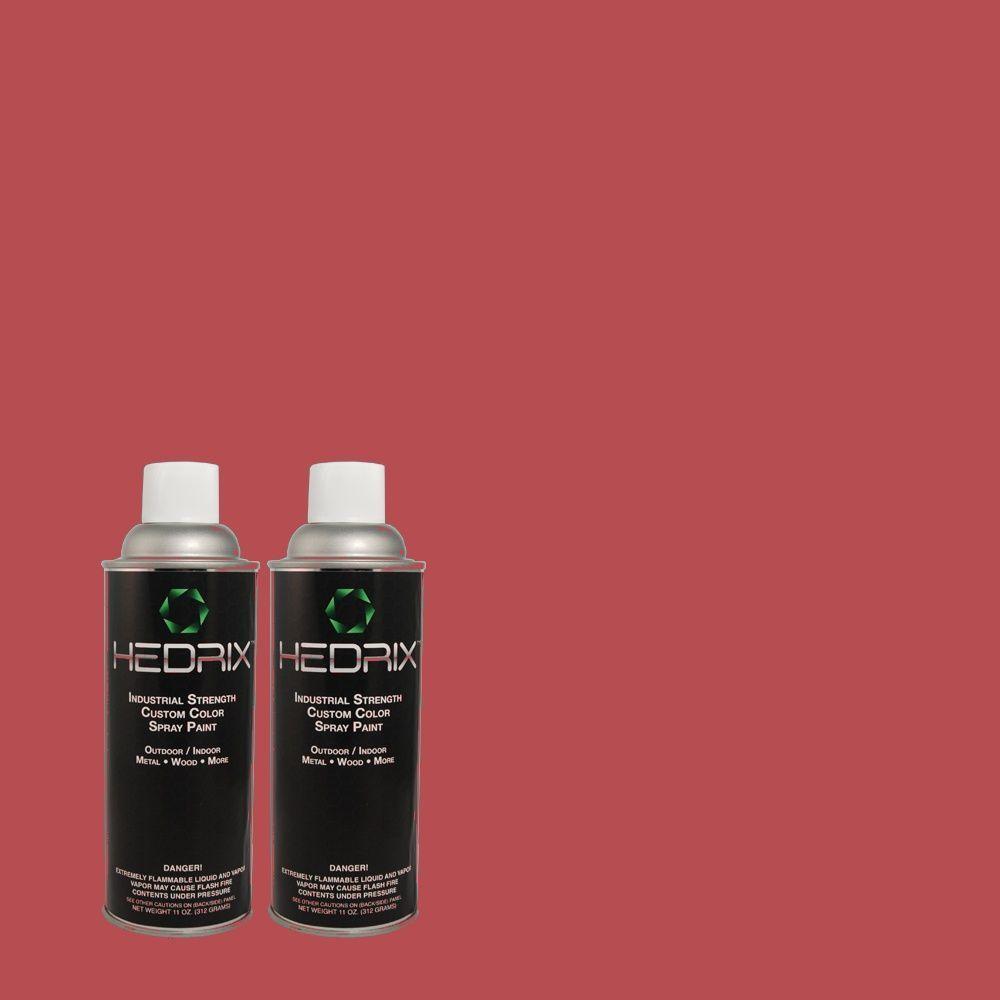 Hedrix 11 oz. Match of 4C12-3 Drama Red Semi-Gloss Custom Spray Paint (2-Pack)