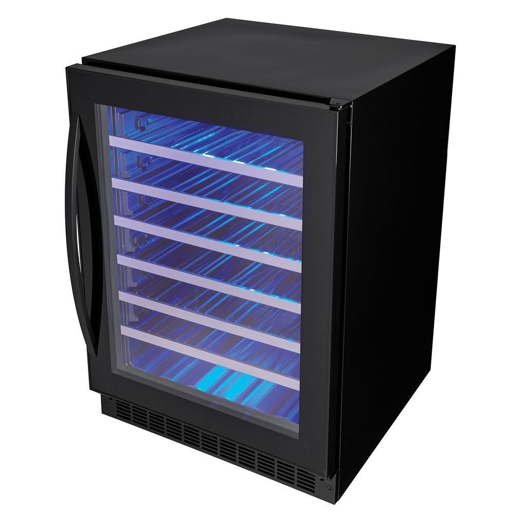 Single Zone 5.6 cu. ft., 48-Bottle Black Built-In Wine Cooler
