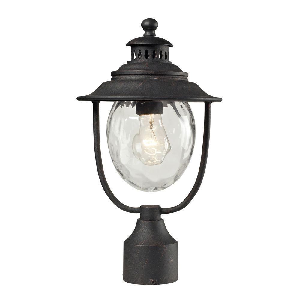 Titan Lighting Searsport 1-Light Outdoor Weathered Charcoal Post Light