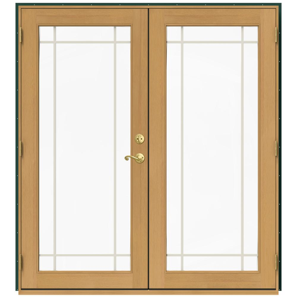 Jeld wen 71 5 in x 79 5 in w 2500 hartford green right for Wood french patio doors