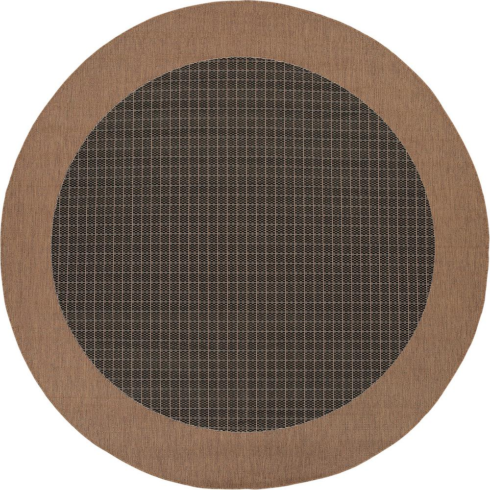 Recife Checkered Field Black-Cocoa 8 ft. x 8 ft. Round Indoor/Outdoor