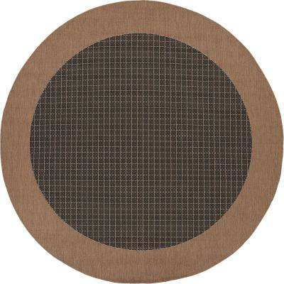 Recife Checkered Field Black-Cocoa 8 ft. x 8 ft. Round Indoor/Outdoor Area Rug