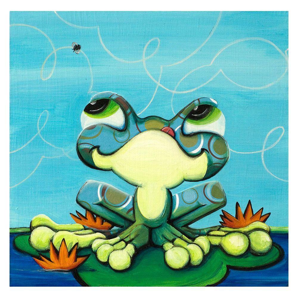 Trademark Fine Art 35 in. x 35 in. Frog's Lunch Canvas Art
