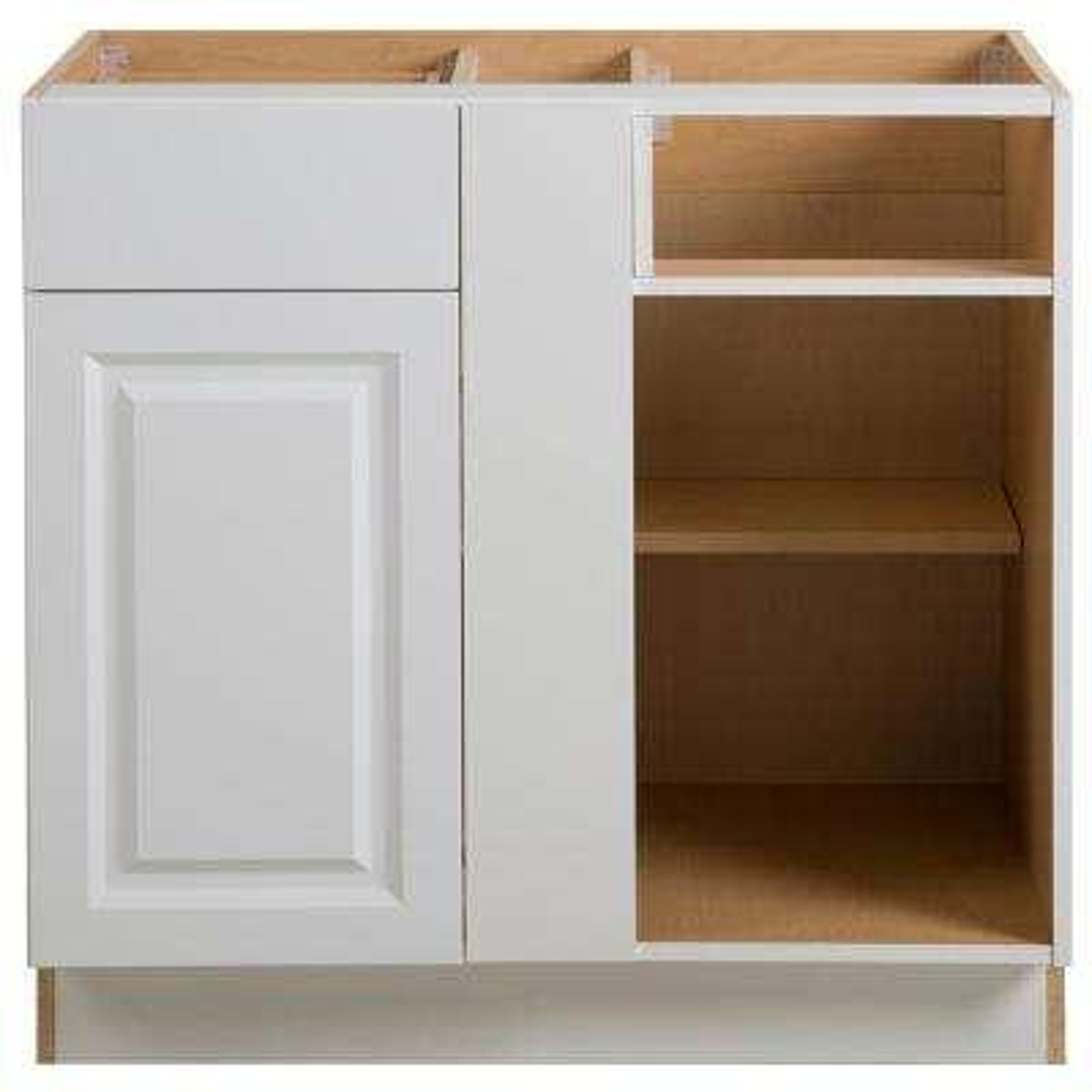 Benton Assembled 36x24.5x34.5 in. Blind Base Corner Cabinet in White
