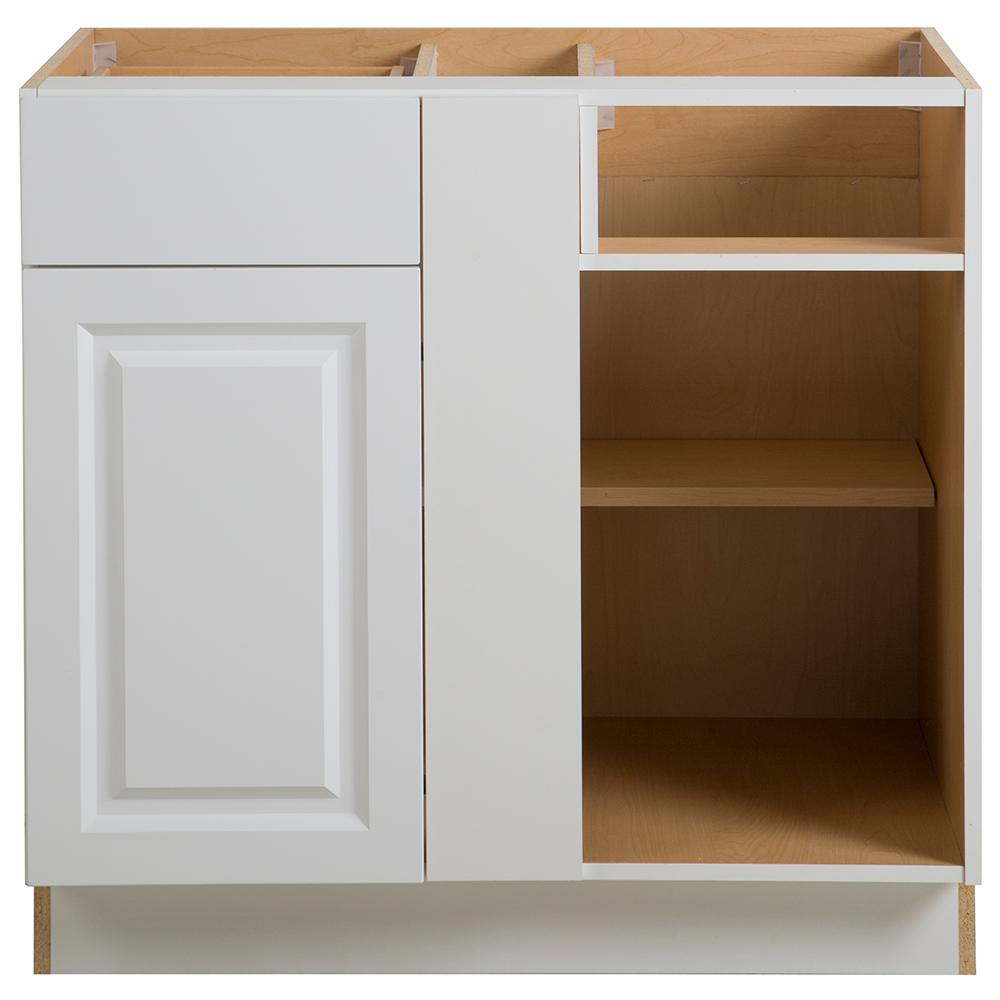Hampton Bay Benton Assembled 36x24.5x34.5 in. Blind Base Corner Cabinet in  White