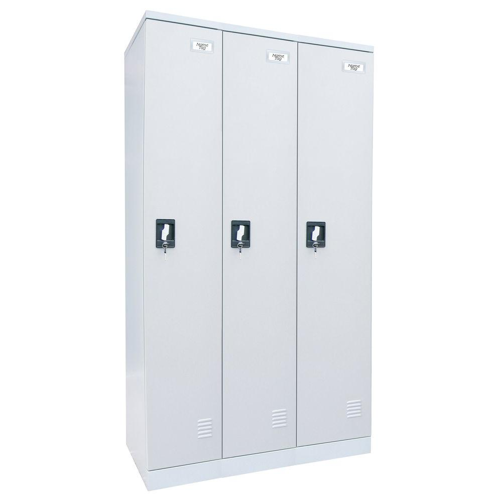 Sandusky 72 in. H x 36 in. W x 18 in. D Quick Assembly Triple Wide Locker in Dove Gray