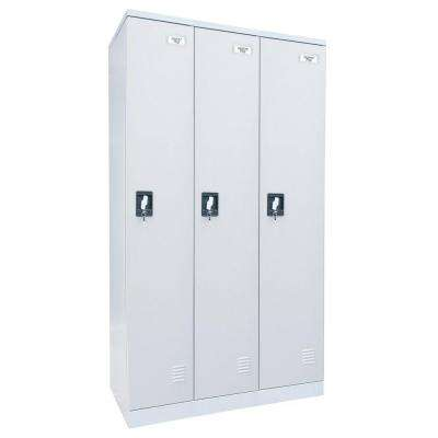 72 in. H x 36 in. W x 18 in. D Quick Assembly Triple Wide Locker in Dove Gray