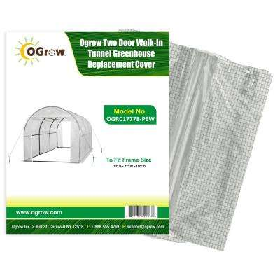 To Fit Frame Size 15 ft. x 6 ft. x 6 ft. 2 Door Walk-In Tunnel Greenhouse Replacement Cover in White