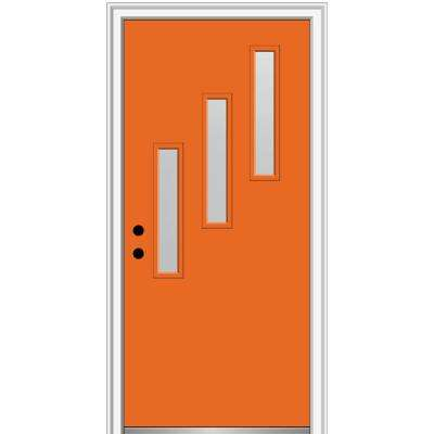 32 in. x 80 in. Davina Right-Hand Inswing 3-Lite Frosted Glass Painted Steel Prehung Front Door on 6-9/16 in. Frame