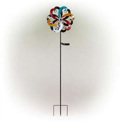 Solar Multi-Color Metal Wind Spinner Stake with Glass Ball an