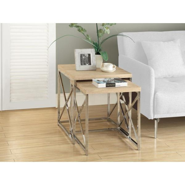 Monarch Natural 2-Piece Nesting End Table