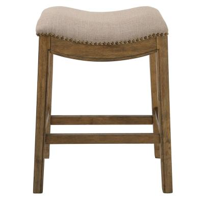 """Saddle Style 25"""" Counter Height Stool with Cream Fabric"""