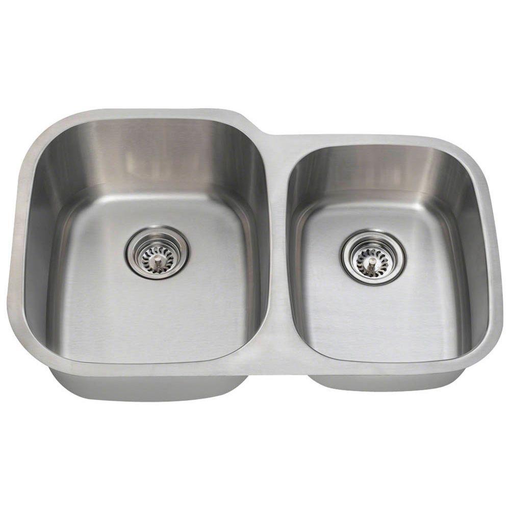 Polaris Sinks Undermount Stainless Steel 32 in. Double Bowl Kitchen ...