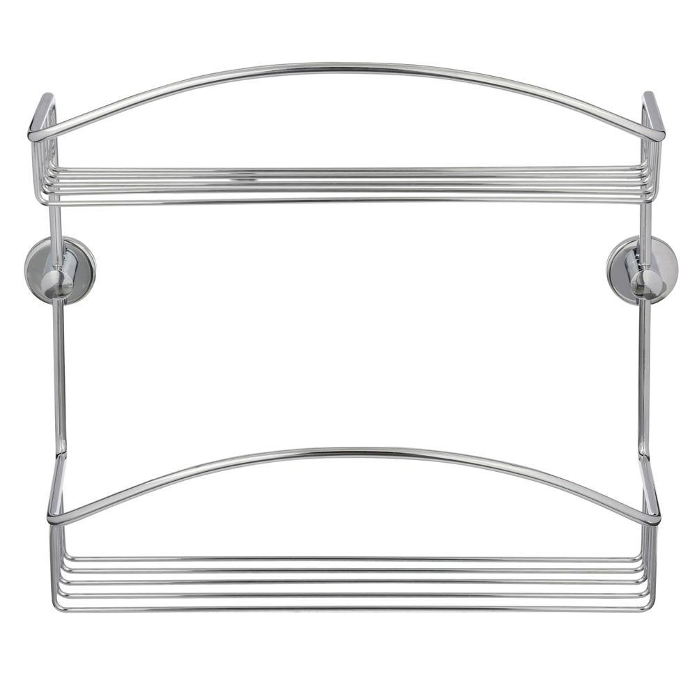 No Drilling Required Draad Rustproof Solid Brass Shower Caddy 12 in. Double Shelf in Chrome
