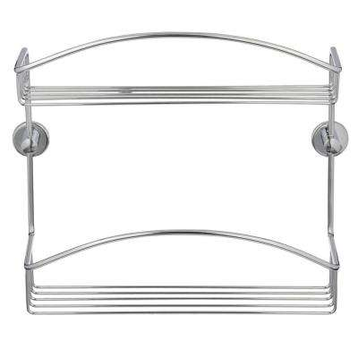 Draad Rustproof Solid Brass Shower Caddy 12 in. Double Shelf in Chrome