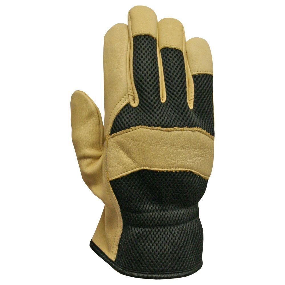 Firm Grip Mesh Back Grain Pigskin Gloves (3-Pair)