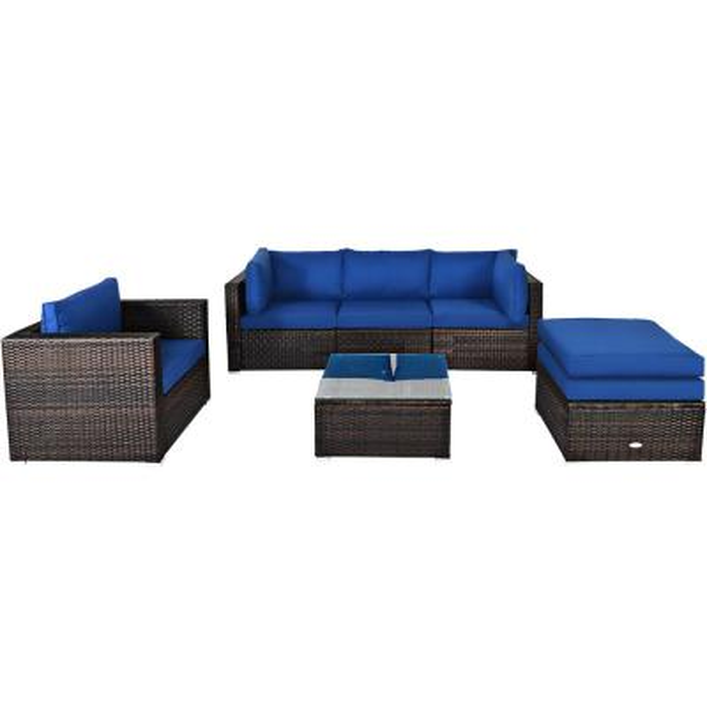 Island 6-Piece Wicker Patio Conversation Set with Navy Cushions