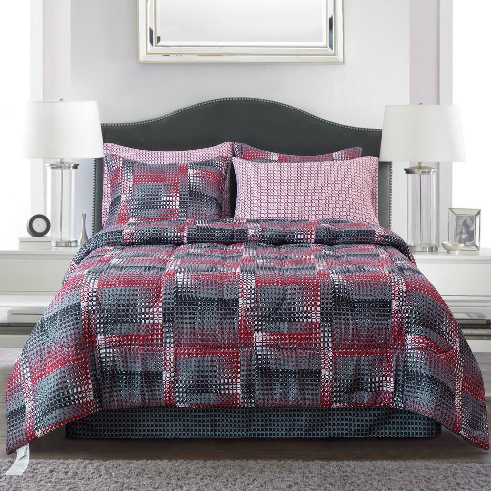 Brown Grey Shadow Box Red 6 Piece Twin Bed In Bag Set