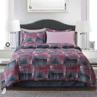 Shadow Box Red 8-piece Full Bed-In-Bag Set