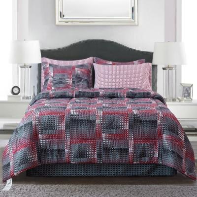 Shadow Box Red 8-piece Queen Bed-In-Bag Set