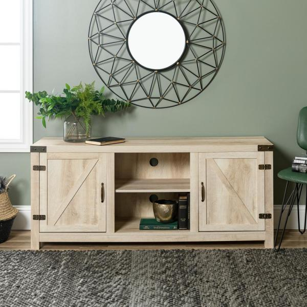 Barn Door 58 in. White Oak MDF TV Stand 60 in. with Adjustable Shelves