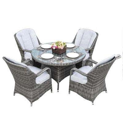 Alisa Grey 5-Piece Aluminum Wicker Round Outdoor Dining Set with Grey Cushions